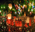 Chiang mai thailand november loy krathong festival at wat pan tao in province of Royalty Free Stock Image