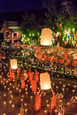 Chiang mai thailand november loy krathong festival at wat pan tao in province of Stock Photography