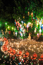 Chiang mai thailand november loy krathong festival at wat pan tao in province of Royalty Free Stock Photography