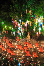 Chiang mai thailand november loy krathong festival at wat pan tao in province of Royalty Free Stock Photo