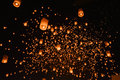 CHIANG MAI, THAILAND-Oct 25:Yee Peng Festival - people release f Royalty Free Stock Photo