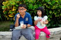 Chiang Mai, Thailand: Two Children Eating Ice Cream Royalty Free Stock Photography