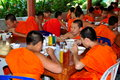 Chiang Mai, Thailand: Young Monks Dining Royalty Free Stock Photography