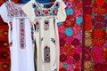Chiapas Mayan dress embroidery and serape Royalty Free Stock Photo