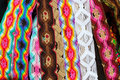 Chiapas Mexico handcrafts belts colorful bracelets Stock Photos
