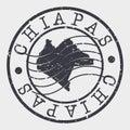 Chiapas, Mexico Stamp Postal. A Map Silhouette Seal. Passport Round Design. Vector Icon Design Retro Travel. Royalty Free Stock Photo