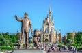 CHIBA, JAPAN: Walt Disney statue with view of Cinderella Castle in the background, Tokyo Disneyland