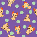 Chibi kitty seamless pattern cats funny glad unbelievable very happy and tired Royalty Free Stock Photos