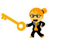 Chibi woman cartoon character illustration of in activity Stock Images