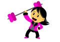 Chibi woman cartoon character illustration of in activity Royalty Free Stock Photos