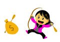 Chibi woman cartoon character illustration of in activity Royalty Free Stock Image
