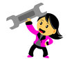 Chibi woman cartoon character illustration of in activity Stock Photo
