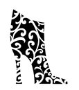 Chic black ankle boot fashion with white swirls Stock Photography