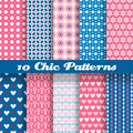Chic different vector seamless patterns tiling deep pink and blue color endless texture can be used for printing onto fabric and Royalty Free Stock Photos