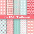 Chic different vector seamless patterns (tiling). Royalty Free Stock Photo