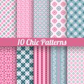 Chic different vector seamless patterns (tiling) Royalty Free Stock Photo