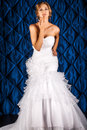 Chic fiancee full length portrait of a beautiful charming bride in a luxurious dress Stock Photography