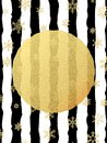 Chic and luxury Christmas postcard with gold glitter foil greeting card. Black stripes, snowflakes, golden glittering