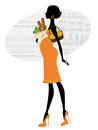 Chic pregnant woman shopping for groceries Stock Photo