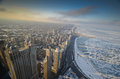 Chicago from above frozen michigan lake and sky line Stock Images