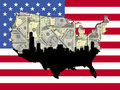 Chicago American map flag Royalty Free Stock Photo