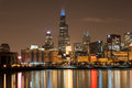 Chicago april businesses in downtown chicago participate in autism speaks light it up blue campaign in support of world autism Stock Image