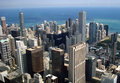 Chicago ariel view with seascape of from skyscraper building Royalty Free Stock Image