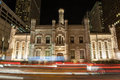 Chicago avenue pumping station night time view of the seen from michigan in Stock Photography