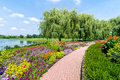 Chicago botanic garden flowers and trees at the Royalty Free Stock Photography