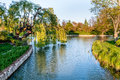 Chicago botanic garden lake and trees at the Royalty Free Stock Image