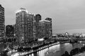 Chicago buildings in black and white. Royalty Free Stock Photo