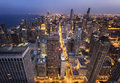 Chicago City from  Above at Night Royalty Free Stock Photo