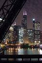 Chicago City Night View - From a bridge over the Chicago River Royalty Free Stock Photo