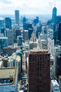 Chicago city skyline aerial view of viewed from the john hancock center building illinois u s a Stock Images