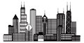 Chicago City Skyline Black and White Vector Illustration Royalty Free Stock Photo