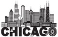 Chicago City Skyline Text Black and White vector Illustration Royalty Free Stock Photo