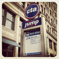 Chicago cta bus sign and building Stock Images