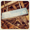 Chicago cta bus sign and train Royalty Free Stock Photos