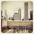 Chicago cta bus and train station Stock Images