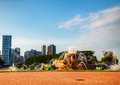 Chicago downtown cityscape with buckingham fountain at grant park Stock Photography