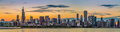 Chicago downtown skyline and lake michigan at sunset Royalty Free Stock Photo