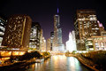 Chicago downtown skyscrapers and river at night Stock Image