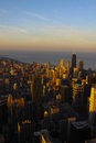 Chicago downtown during sunset at the panoramic view of from willis tower Royalty Free Stock Photo