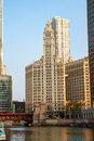 Chicago downtown with the Wrigley building Royalty Free Stock Photo