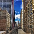 Chicago el train seen from a bridge over the elevated track in the downtown Loop looking South. Royalty Free Stock Photo