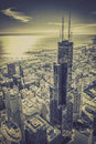 Chicago financial district aerial view with skyscrapers and city skyline Stock Images