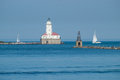 Chicago harbor light house near navy pier Royalty Free Stock Photo