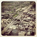 Chicago highway aerial view of a from willis tower Royalty Free Stock Photography
