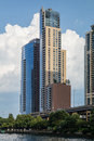 Chicago, IL/USA - circa July 2015: Residential Buildings in Downtown Chicago along River Esplanade,  Illinois Royalty Free Stock Photo
