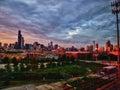 Chicago Skyline at Sunset Royalty Free Stock Photo